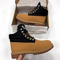 Мужские зимние ботинки Timberland черно рыжие, Тимберленд, реплика ee8b2b9ae39