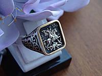 Печатка серебряная с золотой пластиной