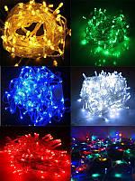 Гирлянда 100-LED цветная, белая или синяя цвета (есть черний или белий провод)