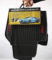 Резиновые коврики на Volkswagen Golf 6 (красная надпись)