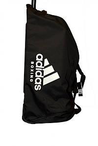 Дорожная сумка на колесах с белым логотипом Adidas Boxing (черная, ADIACC057B)