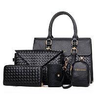 Жіноча чорна сумка набір 5в1 з екошкіри опт, фото 1