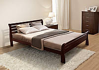 Кровать двуспальная деревянная Ретро 160х200, цвет темный орех