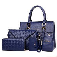 Набор сумок 5в1 синий из экокожи опт, фото 1