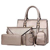 Набор женских сумок цвета серебро 5в1 из экокожи опт, фото 1