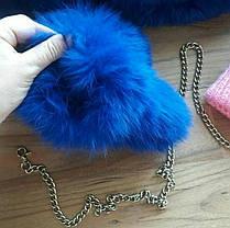Объёмные меховые рукавички, варежки на съёмной цепочке из натурального меха кролика, фото 3