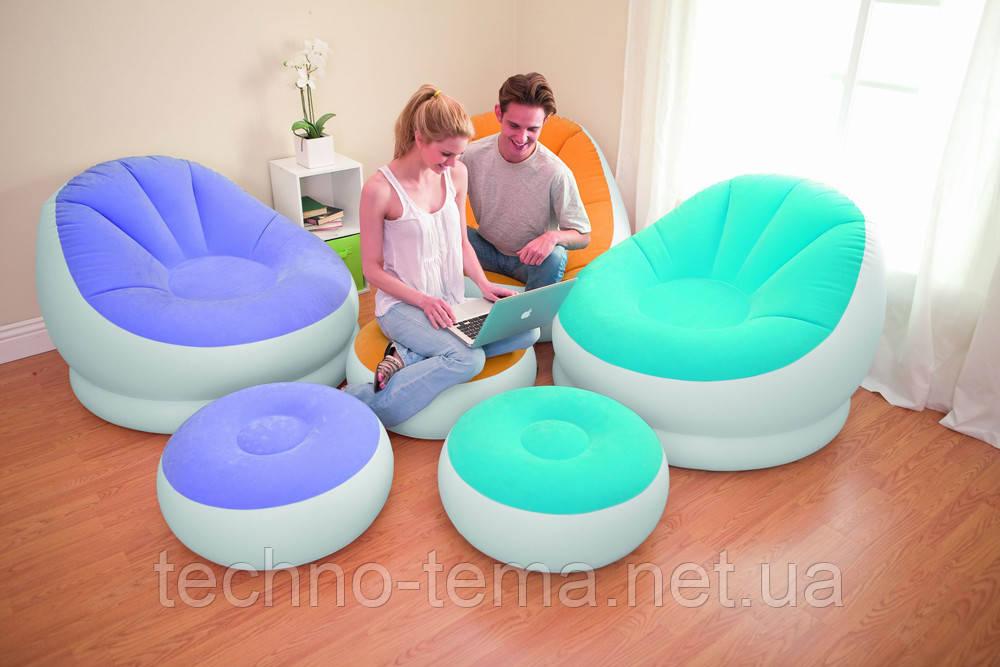Надувное кресло велюровое с пуфиком Intex 68572