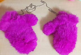 Объёмные меховые рукавички, варежки на съёмной цепочке из натурального меха кролика малиновые