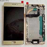 Дисплей модуль Lenovo P1 Vibe, золотистий, з рамкою