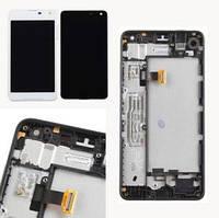 Дисплей модуль Nokia Lumia 650, з рамкою, білий