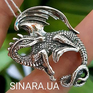 Кулон Дракон серебро 925 - Серебряная подвеска Дракон - Дракон серебряный кулон