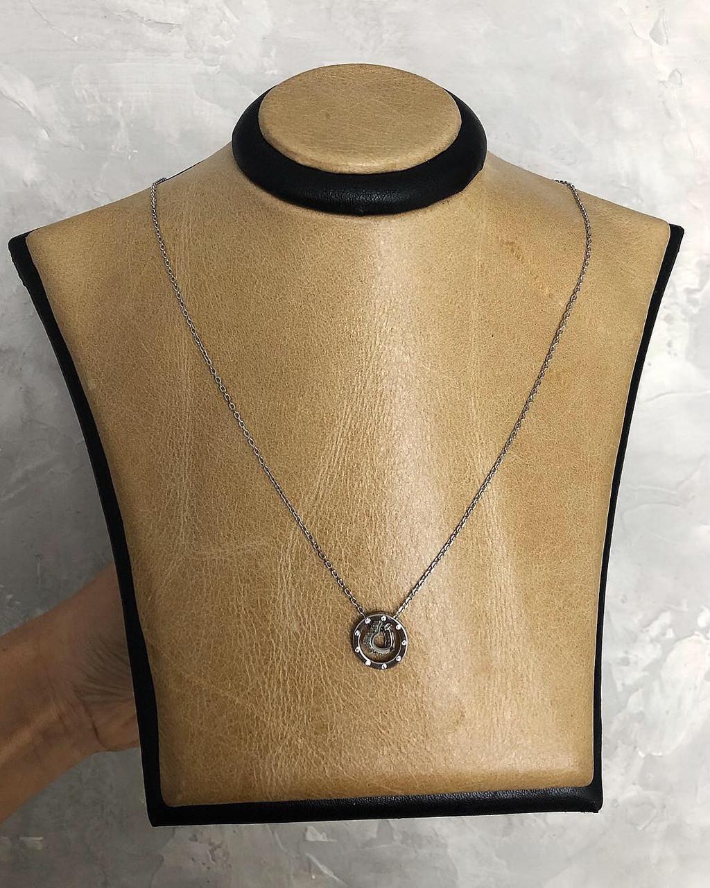 Кулон из серебра двойной с сердечком покрыт родием