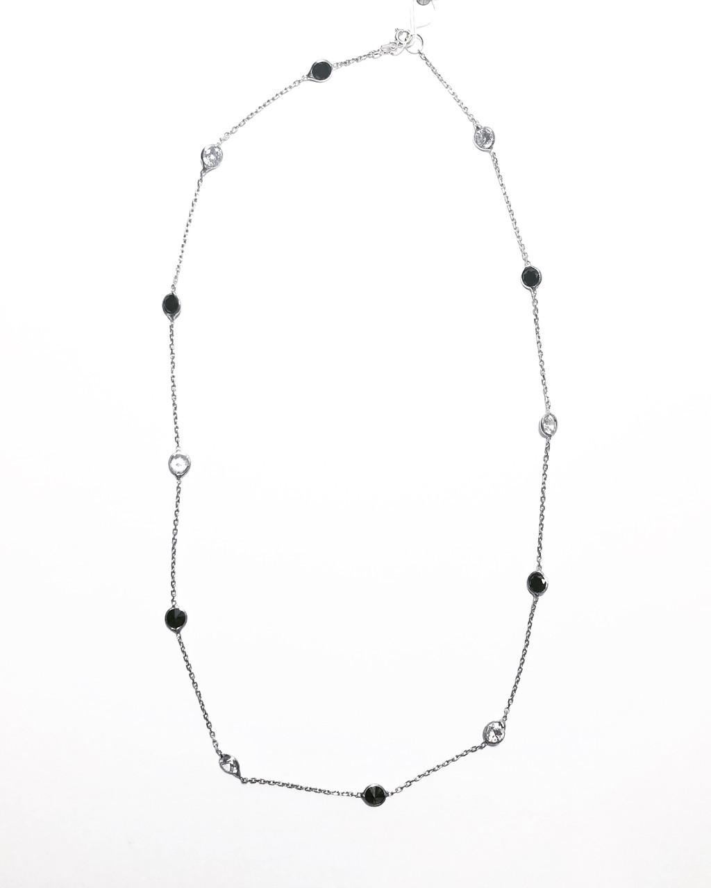 Цепочка колье из серебра 925 Beauty Jewels черные и белые цирконы