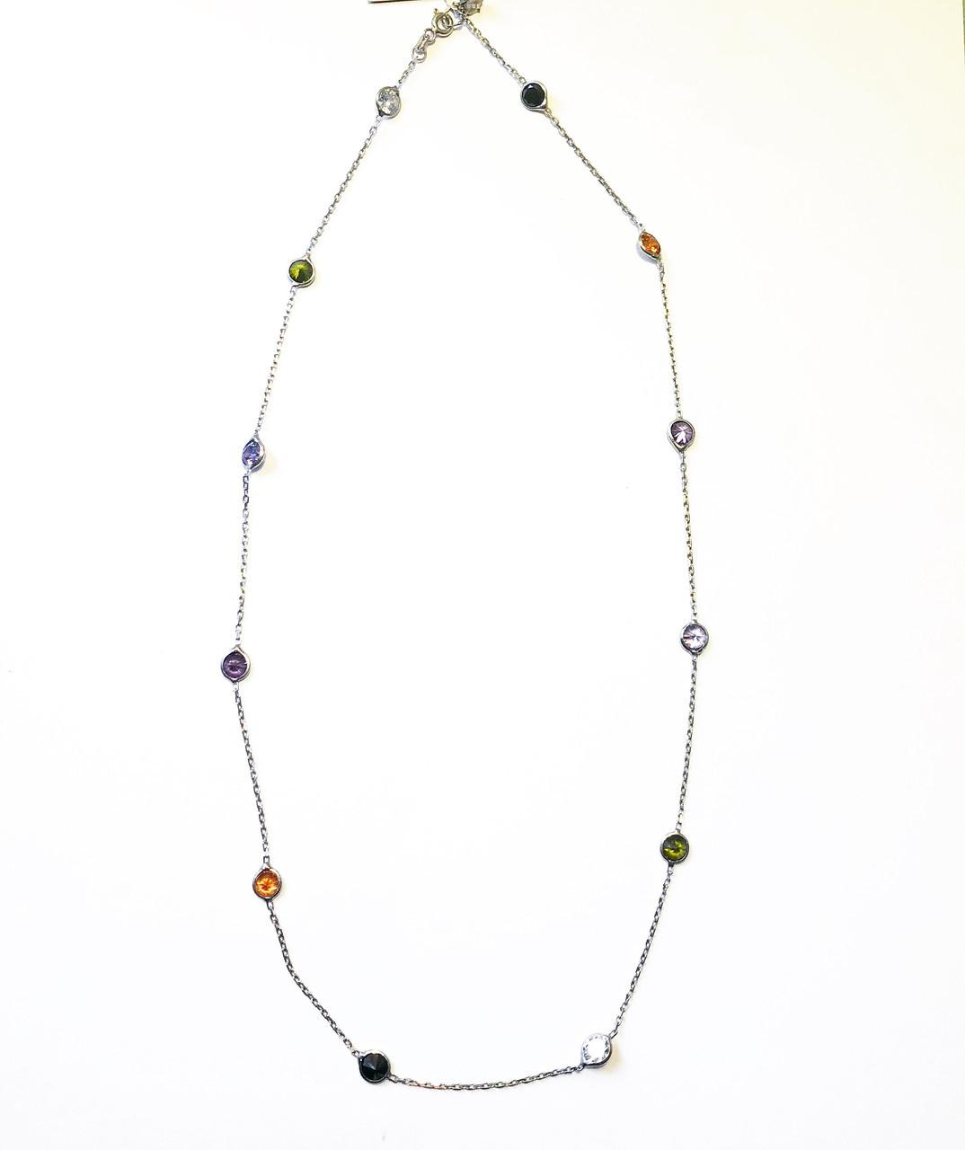 Ланцюжок кольє з срібла 925 Beauty Jewels кольорові циркони