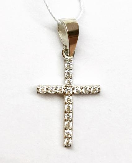 Крестик из серебра с золотой накладкой и цирконами