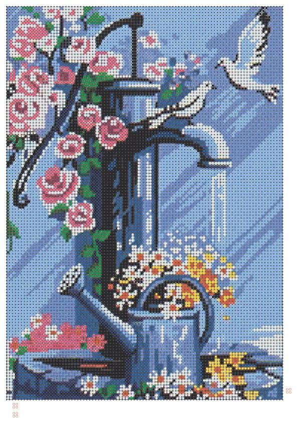 """Схема для полной зашивки бисером - """"Цветы и голуби"""""""