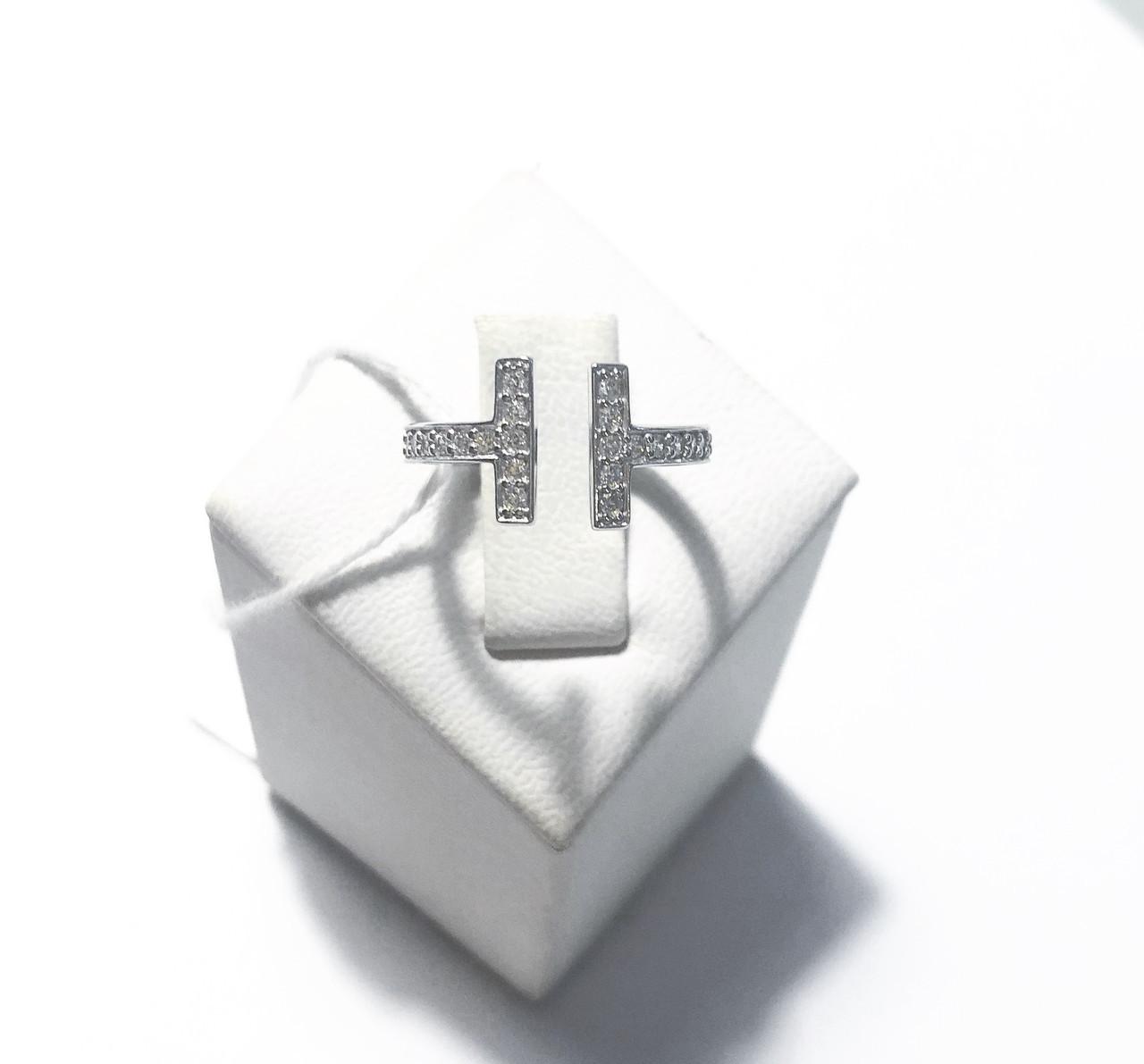 Кольцо из серебра с куб. цирконами в стиле Tiffany 2 (размеры 16, 16.5)