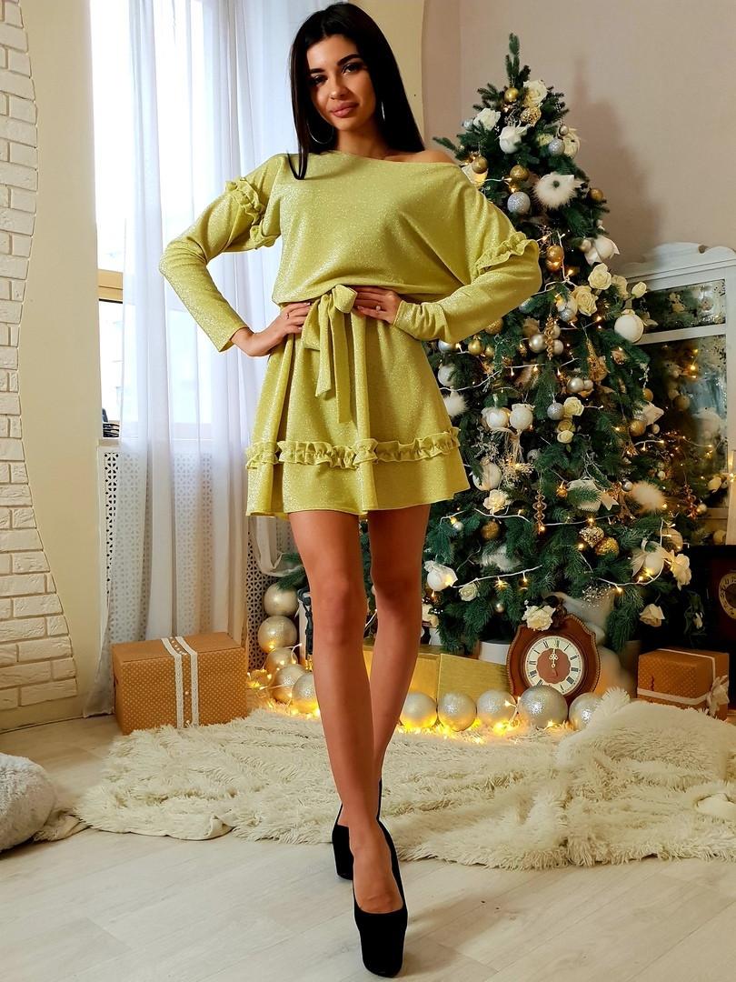 072147f62fb Красивое короткое платье под пояс с люрекса и отделкой из рюш 42-46 (уни