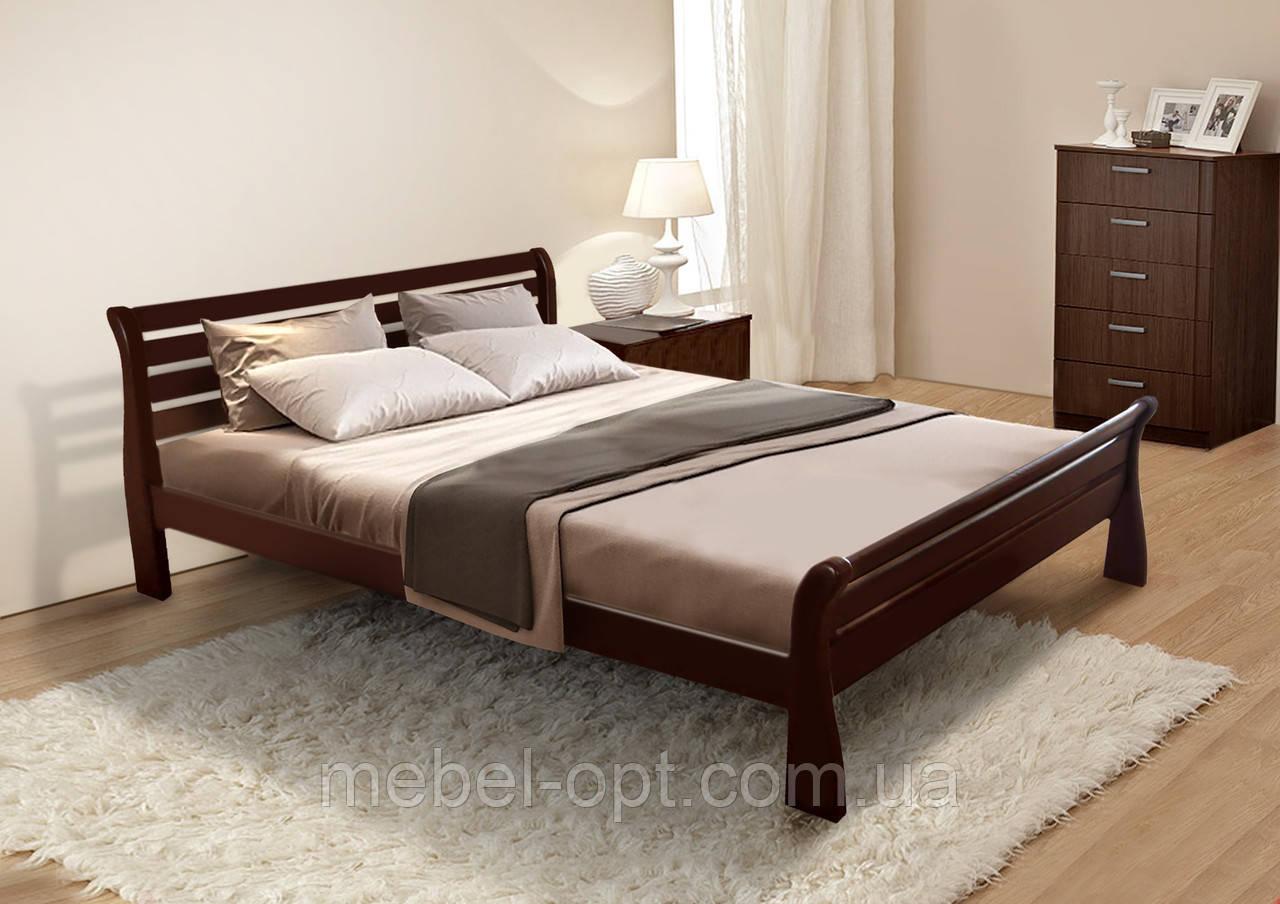 Кровать полуторная деревянная Ретро 140х200, цвет светлый орех