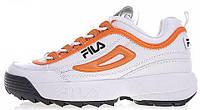 Женские кроссовки Fila Disruptor 2 White Orange (фила дисраптор 2, белые/оранжевые)