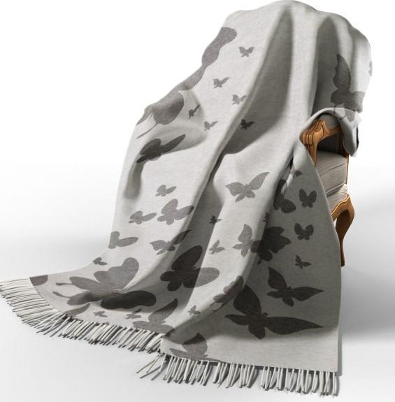 Плед Хлопковый 140X200 VLADI Бабочки Бело-серый, Темно-серый, Беж