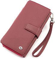 Большой кожаный женский кошелек красного цвета ST
