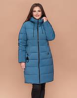 Темно-голубой пуховик зимний большого размера женский Braggart Youth