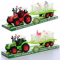 Трактор 2011-28, инер-й, с прицепом, 32см, животные, 2вида, в слюде, 35-8, 5-12см