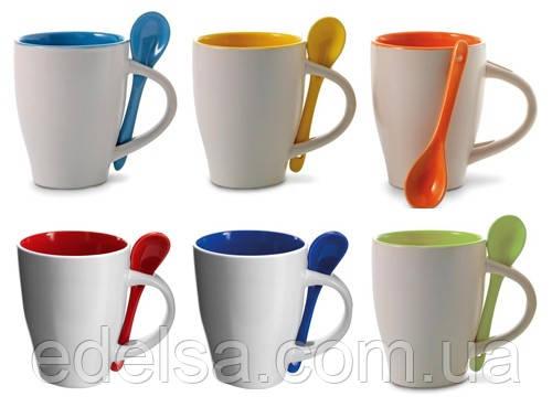 Кружка керамическая с ложкой, цветная с фото или логотипом