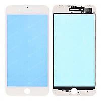 Стекло (для ремонта дисплея) для iPhone 8 Plus, белое, с рамкой, с OCA-пленкой