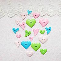 """Пуговицы """"Сердца розовые и голубые"""" для рукоделия, скрапбукинга, тедди  - 20 шт, США"""