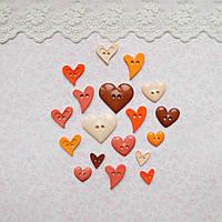 """Пуговицы """"Сердца-осень"""" для рукоделия, скрапбукинга, тедди  - 18 шт, США"""