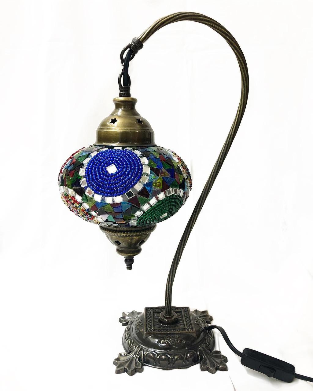 Настольный изогнутый турецкий светильник кэмэл из мозаики ручной работы цветной 3