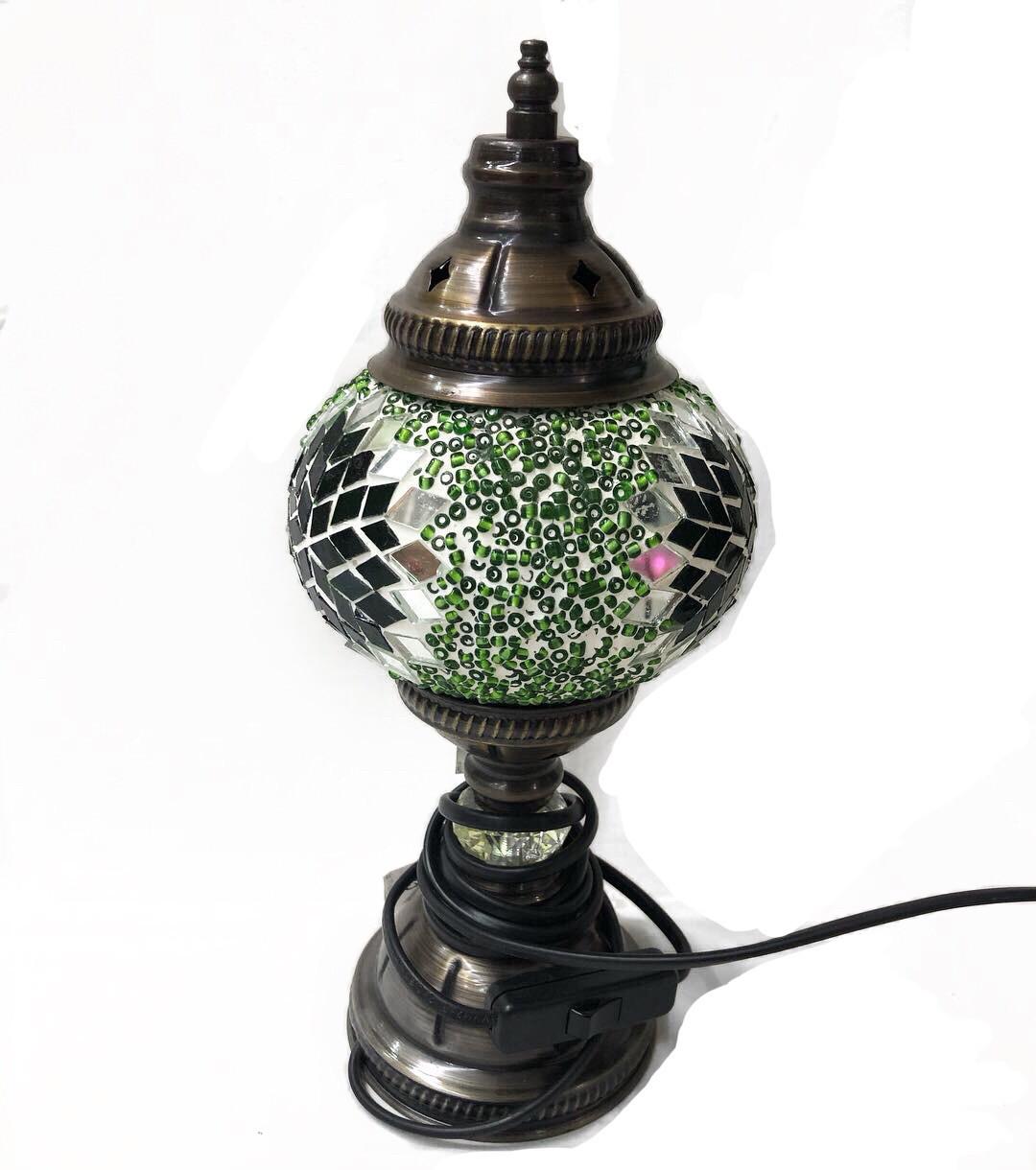 Настольный турецкий светильник из мозаики ручной работы зеленый