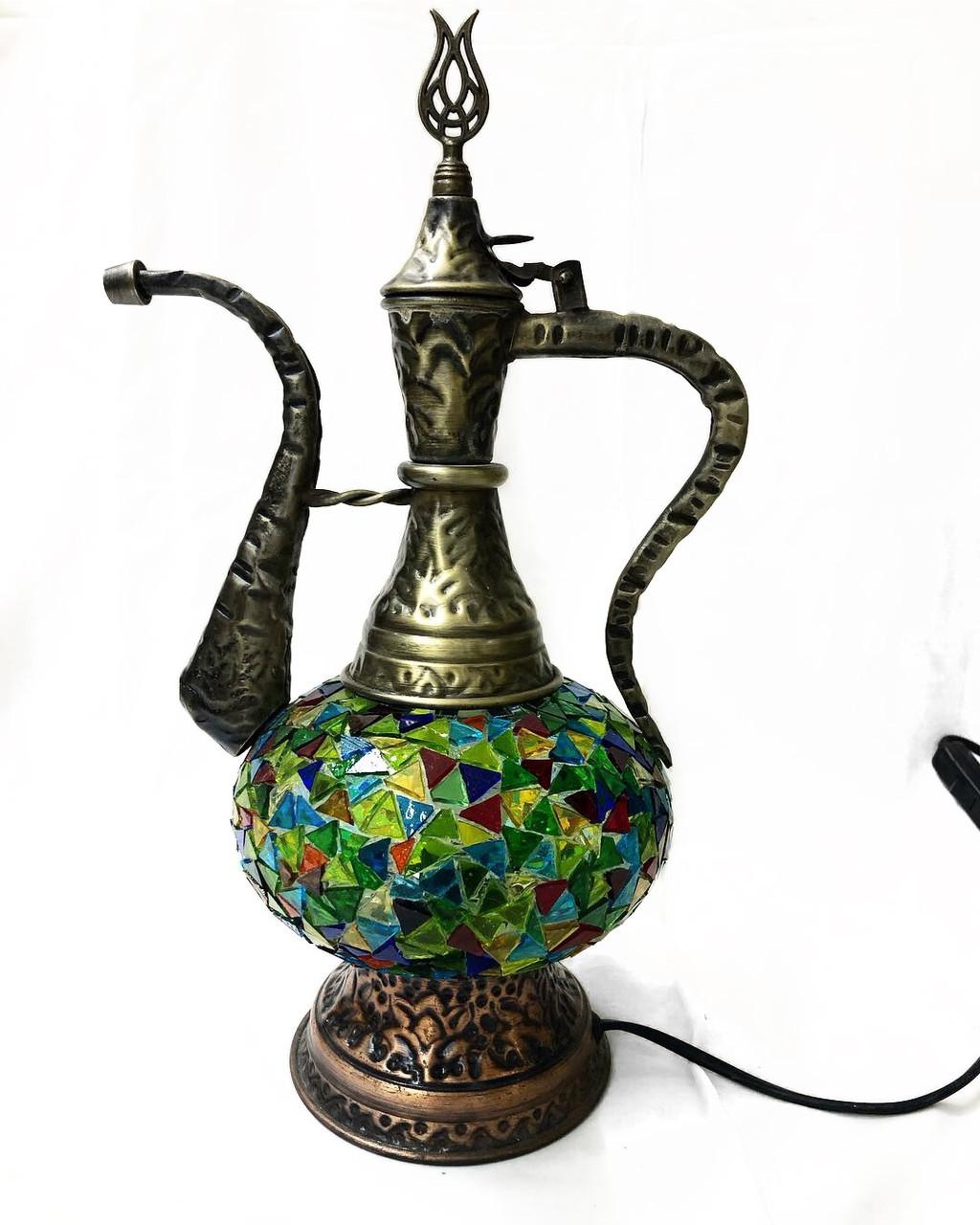 Настольный турецкий светильник лампа Алладина из мозаики ручной работы синий