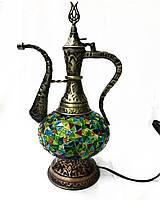 Настольный турецкий светильник лампа Алладина из мозаики ручной работы синий, фото 1