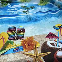 Вафельная ткань с пляжем, пальмами и морем, ширина 150 см, фото 1