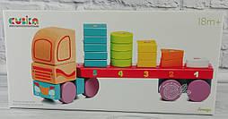 Деревянная игрушка Тягач с геометрическими фигурами №13425 LM-13 Левеня Украина
