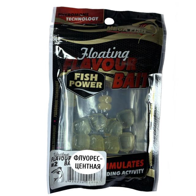 Приманки-наживки для рыбы MEGA FISH КУКУРУЗА №2 силиконовые, ароматизированные ФЛУОРЕСЦЕНТНАЯ