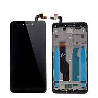 Дисплей (экран) для Xiaomi Redmi Note 4X + тачскрин, черный, с передней панелью