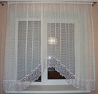 "Тюль арка на кухню ""Люсьен"" французская сетка с кружевом 3 м белая"