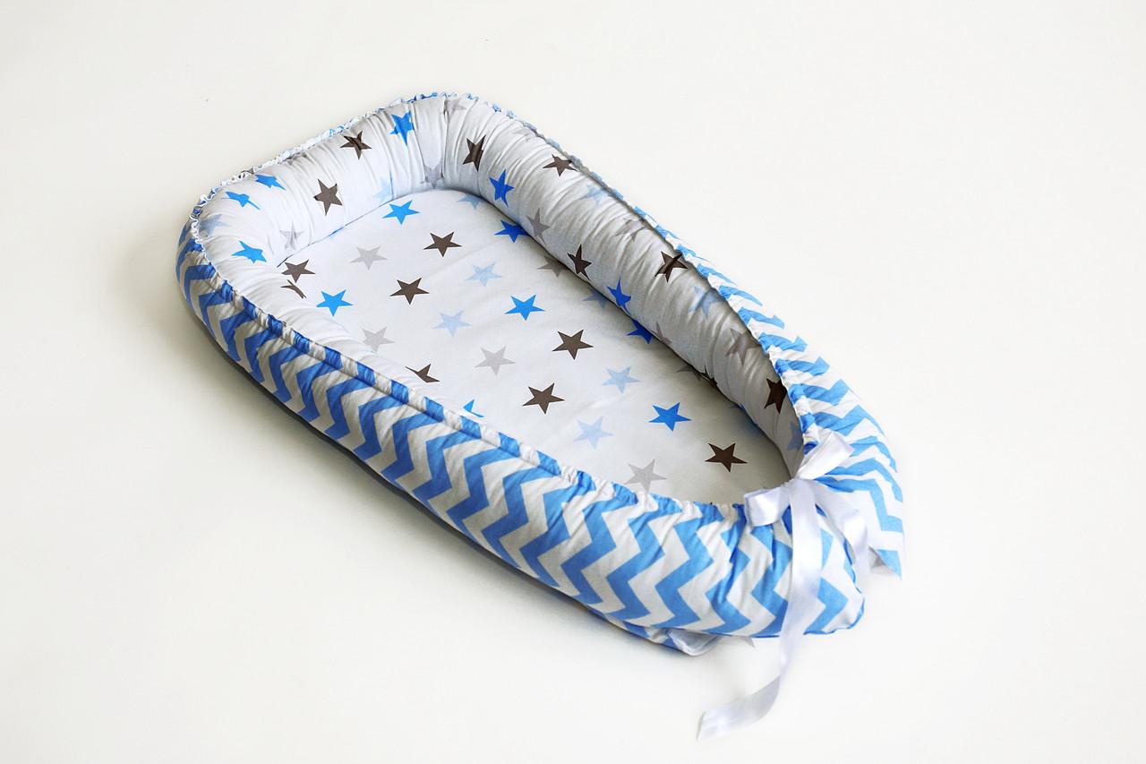 Гнездышко-кокон для новорожденных, серо-голубая звездочка