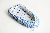 Гнездышко-кокон для новорожденных, серо-голубая звездочка, фото 1