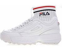 Женские кроссовки Fila Disruptor 2 Evo Sockfit White (фила дисраптор, белые с носком)