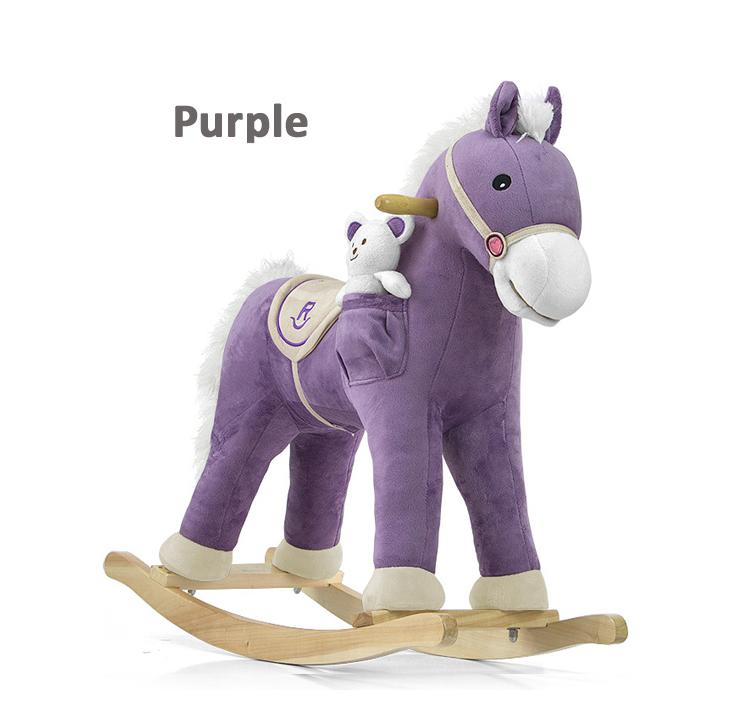 Плюшевая лошадка качалка бежевая с звуковыми эффектами и кармашком под игрушку Milly Mally фиолетовая.