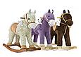 Плюшевая лошадка качалка бежевая с звуковыми эффектами и кармашком под игрушку Milly Mally фиолетовая., фото 3