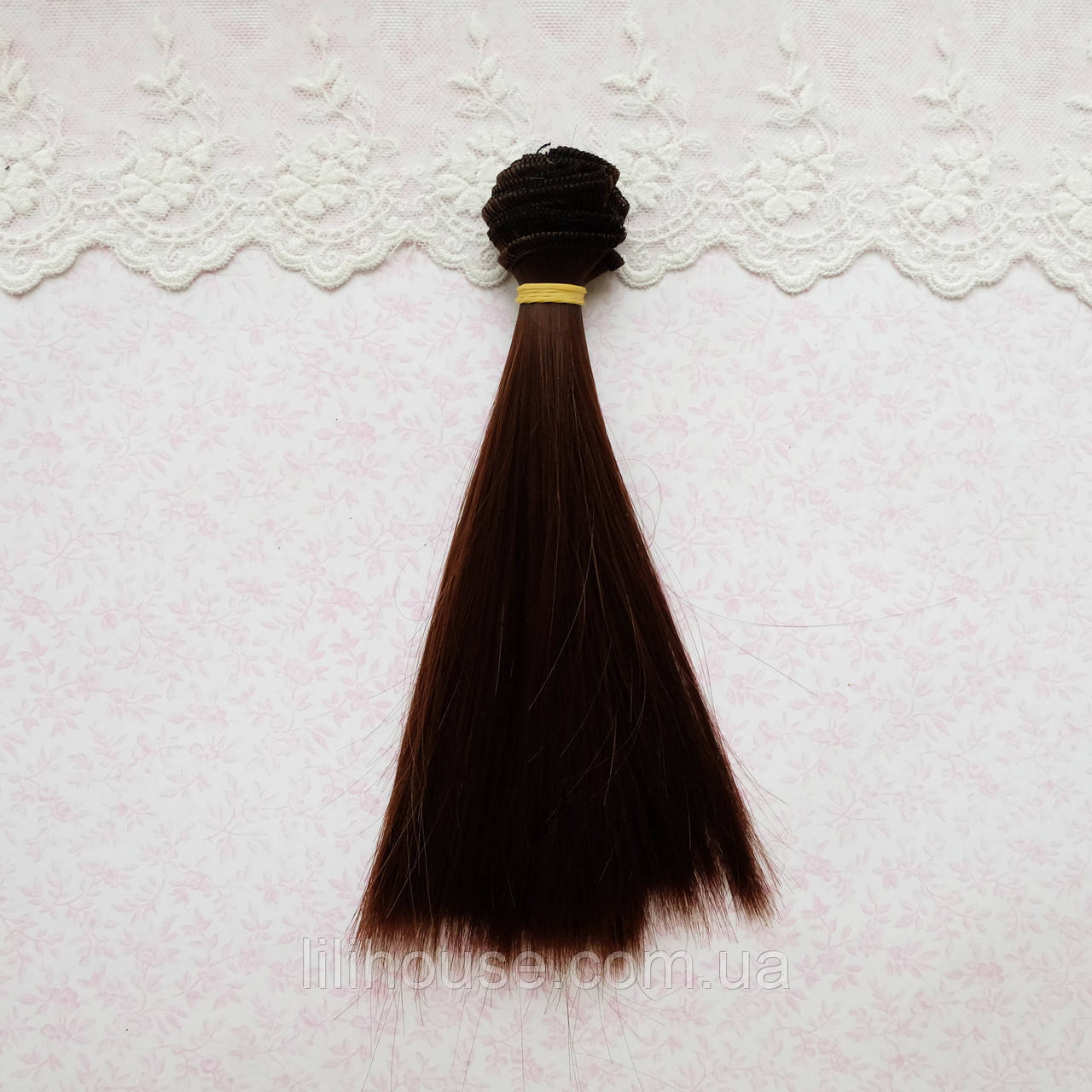 Волосы для кукол в трессах, пряный каштан шелк - 15 см