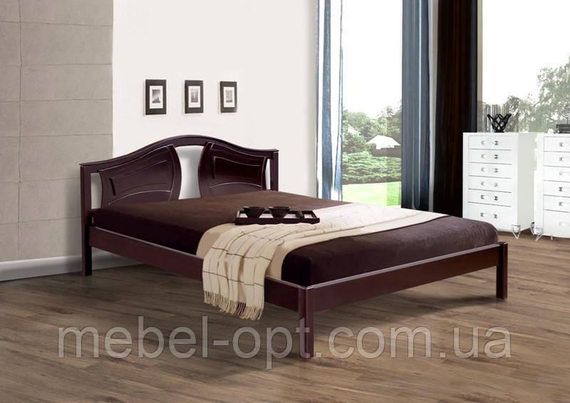 Кровать полуторная деревянная Марго 140х200, цвет темный орех