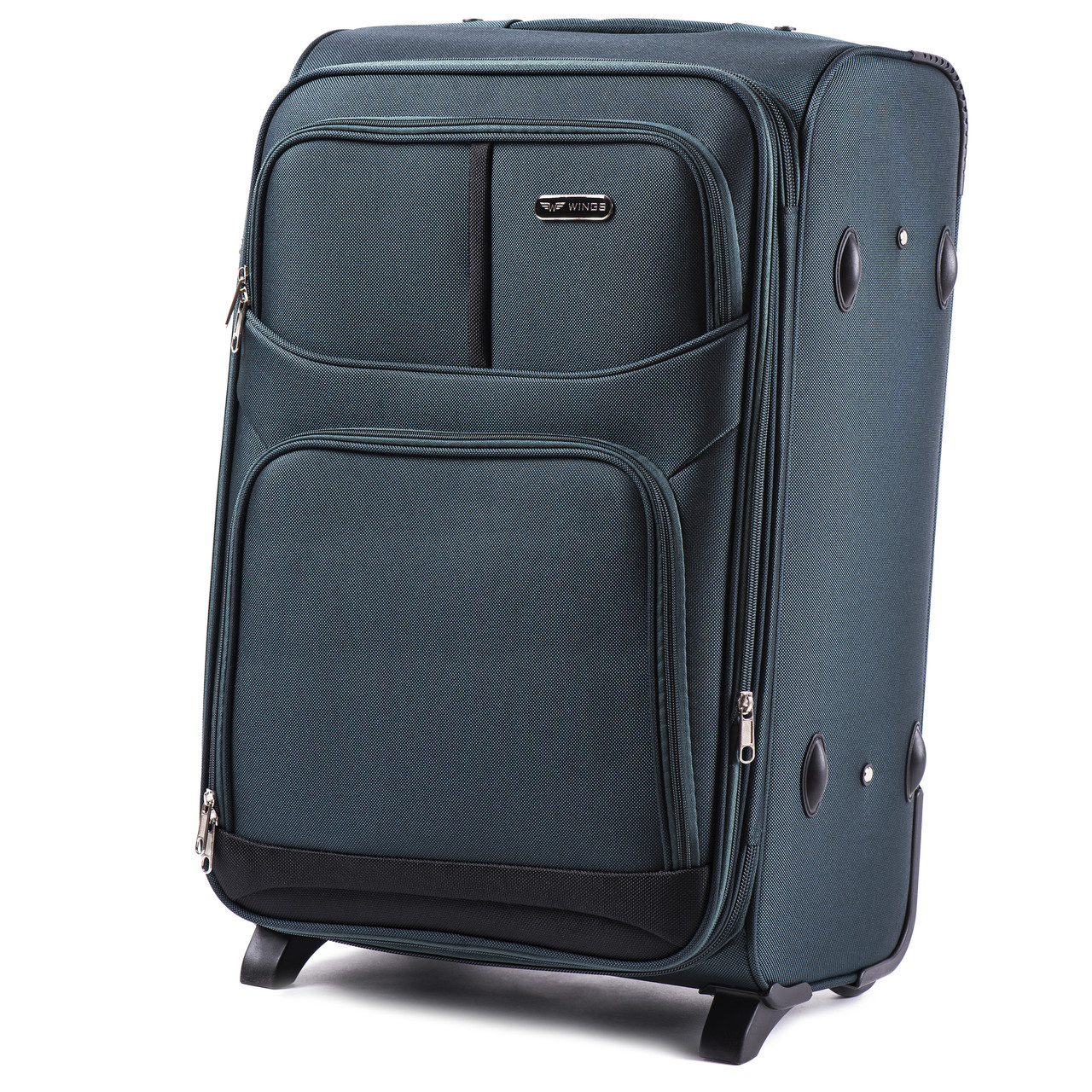 Средний тканевый чемодан Wings 206 на 2 колесах зеленый