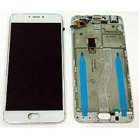 Дисплей (экран) для Meizu M3 Note (L681H) + тачскрин, белый, с передней панелью, 30 pin